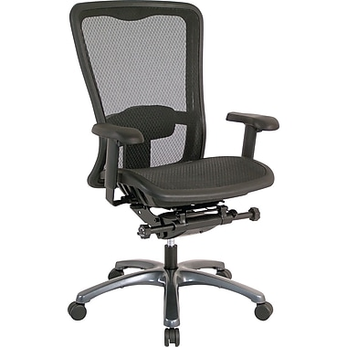 Office Star 93720 Pro-Line II Mesh High-Back Managers Chair with Adjustable Arms, Black
