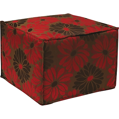 Office Star Ave Six® Fabric Aspen Pouf Ottoman, Groovy Red