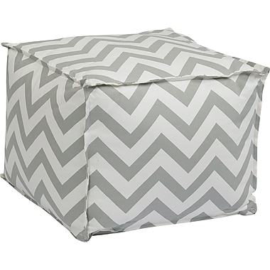 Office Star Ave Six® Fabric Aspen Pouf Ottoman, Zig Zag Grey