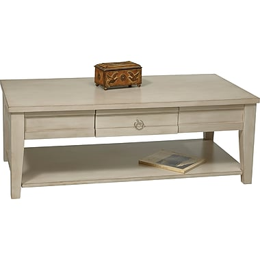 Office Star Ave Six® 17in. x 47in. x 23 3/4in. Wood/MDF Banyan Coffee Table, Rustic Cream