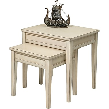 Office Star Ave Six® 21in. x 21in. x 17in. Wood/MDF Banyan Nesting Table, Rustic Cream