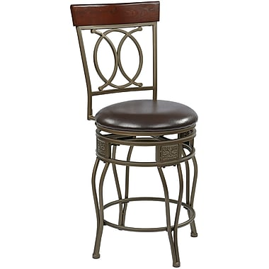 Office Star OSP Designs 24in. Faux Leather Grey Ash Frame Cosmo Metal Swivel Bar Stool, Espresso