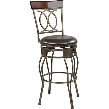 Office Star OSP Designs 30in. Faux Leather Cosmo Metal Swivel Bar Stool, Espresso