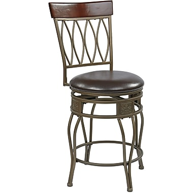 Office Star OSP Designs 24in. Faux Grey Antique Frame Leather Cosmo Metal Swivel Bar Stool, Espresso
