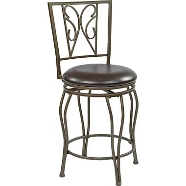 Office Star OSP Designs 24in. Faux Leather Cosmo Metal Swivel Bar Stool, Espresso