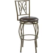 "Office Star OSP Designs 30"" Faux Leather Cosmo Metal Swivel Bar Stool, Espresso flux leather"