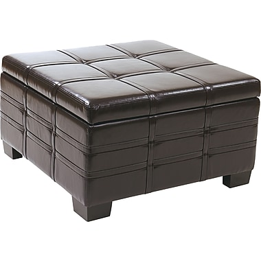 Office Star Ave Six® Eco Leather Detour Strap Ottoman With Tray, Espresso