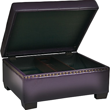 Office Star Ave Six® Eco Leather Detour Storage Ottoman With Tray, Plum