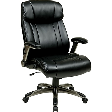 Office Star Work Smart™ Eco Leather High Back Executive Chair With Cocoa Padded Flip Arms, Espresso