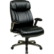 Office Star Work Smart™ Eco Leather High Back Executive Chair With Silver Padded Flip Arms, Black