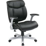 Office Star Work Smart™ Eco Leather Mid Back Executive Chair With Silver Padded Flip Arms, Black