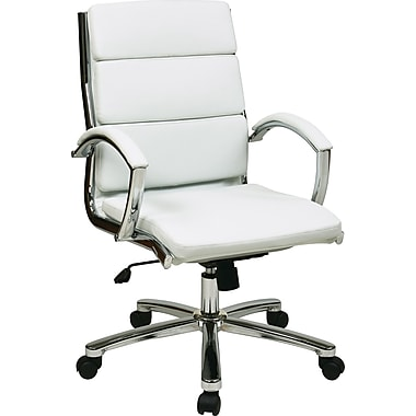 Office Star Work Smart™ Faux Leather Mid Back Executive Chair With Padded Arms, White