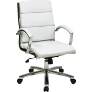Office Star FL5388C-U11 Faux Leather Mid-Back Executive Chair with Fixed Arms, White
