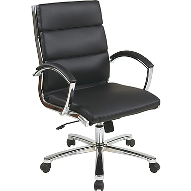 Office Star Work Smart™ Faux Leather Mid Back Executive Chair With Padded Arms, Black