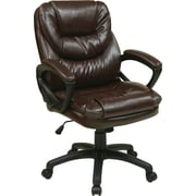 Office Star FL660-U2 Work Smart Faux Leather Managers Chair with Fixed Arms, Chocolate