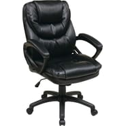 Office Star Work Smart™ Faux Leather Mid Back Managers Chair, Black Chocolate