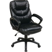 Office Star WorkSmart Leather Managers Office Chair, Fixed Arms, Black (FL660-U6)