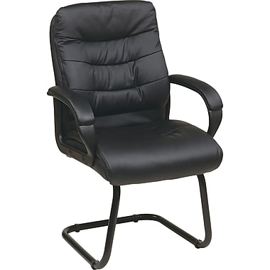 Office Star Work Smart™ Faux Leather High Back Visitors Chair With Padded Arms, Black