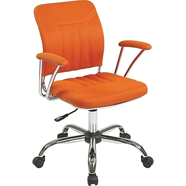 Office Star OSP Designs Gemini Mesh Mid Back Office Chair, Orange
