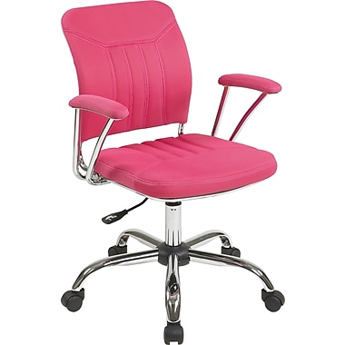 Office Star OSP Designs Gemini Mesh Mid Back Office Chair, Pink