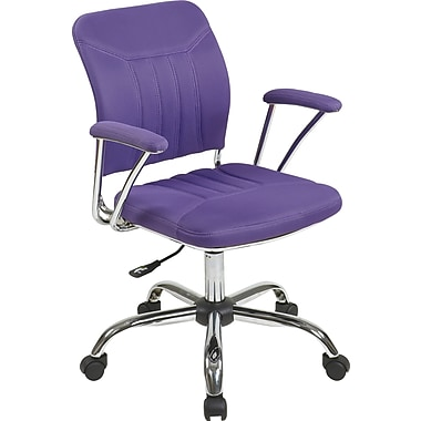 Office Star OSP Designs Gemini Mesh Mid Back Office Chair, Purple