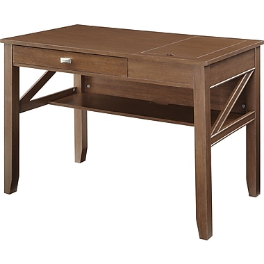 Office Star OSP Designs Engineered Wood Landon Writing Desk, Light Old