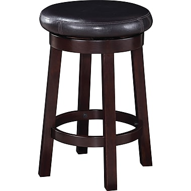 Office Star OSP Designs 24in. Faux Leather Metro Round Bar Stool, Espresso