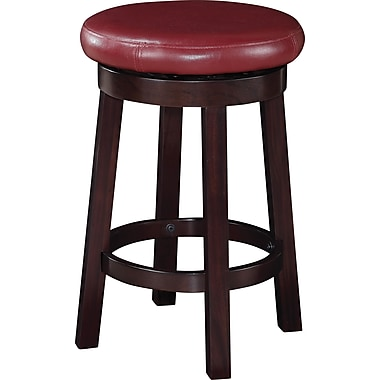 Office Star OSP Designs 24in. Faux Leather Metro Round Bar Stool, Red