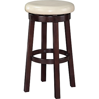 Office Star OSP Designs 30in. Faux Leather Metro Round Bar Stool, Cream