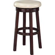 Office Star OSP Designs 30 Faux Leather Metro Round Bar Stool, Cream