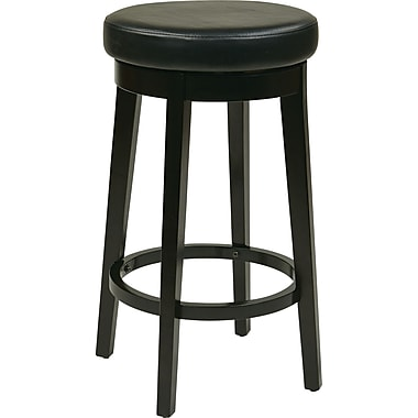 Office Star OSP Designs 30in. Faux Leather Metro Round Bar Stool, Espresso