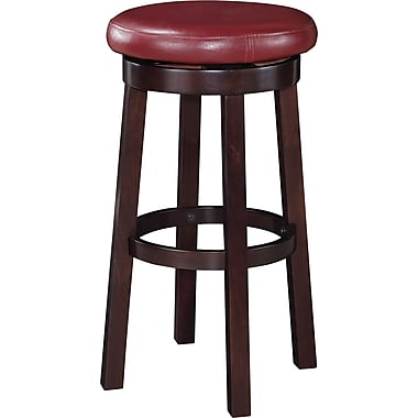 Office Star OSP Designs 30in. Faux Leather Metro Round Bar Stool, Crimson Red