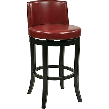 Office Star OSP Designs Eco Leather Swivel Bar Stool, Crimson Red