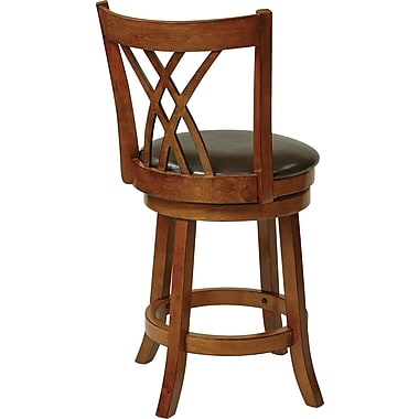 Office Star OSP Designs 24in. Oak Frame Faux Leather Swivel Bar Stool, Espresso
