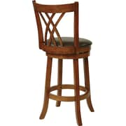 Office Star OSP Designs 30(H) Oak Frame Faux Leather Swivel Bar Stool, Espresso