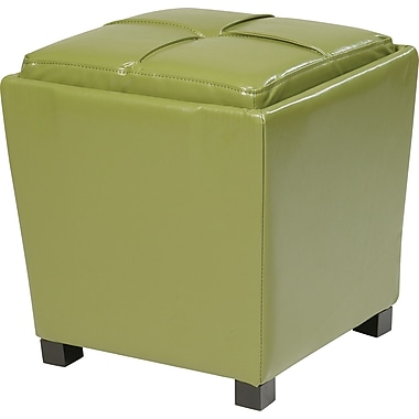 Office Star OSP Designs Eco Leather 2 Piece Ottoman Set, Caliste Green