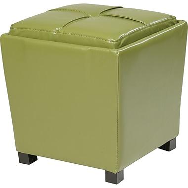 Office Star OSP Designs Eco Leather 2 Piece Ottoman Set, Caliste Green