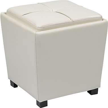 Office Star OSP Designs Vinyl 2 Piece Ottoman Set, White