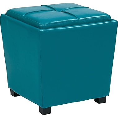 Office Star OSP Designs Vinyl 2 Piece Ottoman Set, Blue