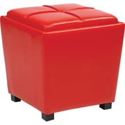 Office Star OSP Designs Vinyl 2 Piece Ottoman Set, Red