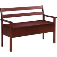 Office Star OSP Designs Solid Wood and Veneer Metro Entry Way Bench, Dark Espresso