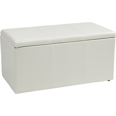 Office Star OSP Designs Vinyl 3 Piece Ottoman Set, White
