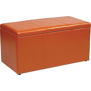 Office Star OSP Designs Vinyl 3 Piece Ottoman Set, Orange