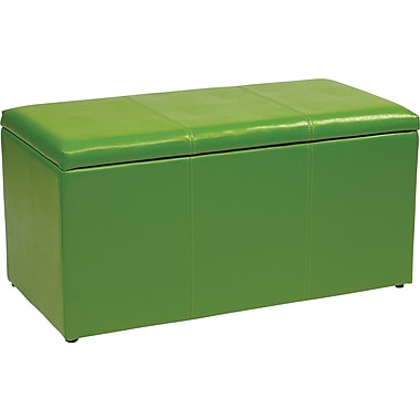 Office Star OSP Designs Vinyl 3 Piece Ottoman Set, Green