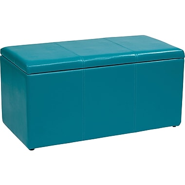 Office Star OSP Designs Vinyl 3 Piece Ottoman Set, Blue