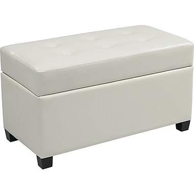 Office Star OSP Designs Vinyl Storage Ottoman, White