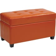 Office Star OSP Designs Vinyl Storage Ottoman, Orange