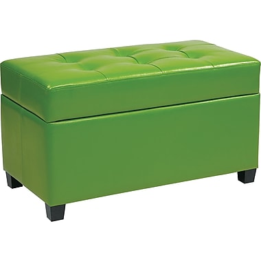 Office Star OSP Designs Vinyl Storage Ottoman, Green