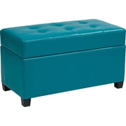 Office Star OSP Designs Vinyl Storage Ottoman, Blue