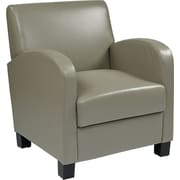 Office Star OSP Designs Eco Leather Club Chair With Espresso Legs, Ash